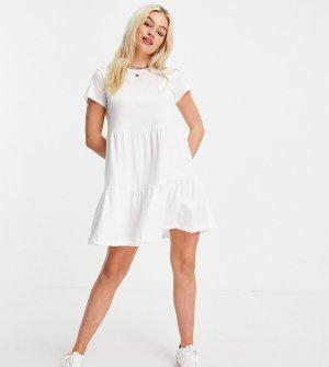 Свободное трикотажное платье белого цвета с короткими рукавами и оборками -Белый New Look Petite