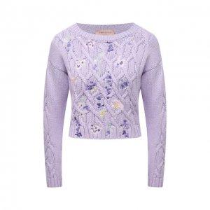 Хлопковый свитер Ermanno Firenze. Цвет: фиолетовый