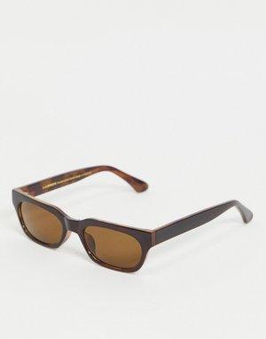 Узкие прямоугольные солнцезащитные очки унисекс в коричневой оправе стиле ретро Bror-Коричневый цвет A.Kjaerbede