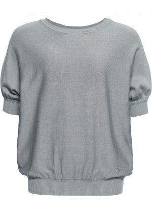 Пуловер с круглым вырезом bonprix. Цвет: серебристый