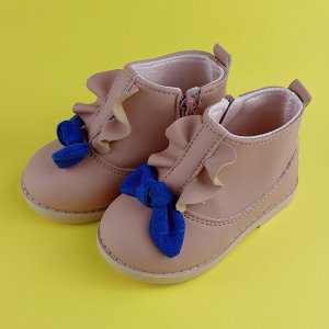 Для девочек Ботинки с бантом молнией SHEIN. Цвет: розовые