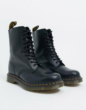 Черные ботинки с 10 парами люверсов 1490-Черный Dr Martens