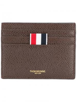 Классическая визитница Thom Browne. Цвет: коричневый