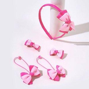5шт для девочек с бантом Зажим волос & Ободок SHEIN. Цвет: розовые