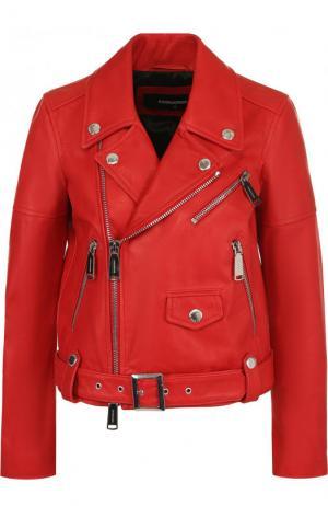 Однотонная кожаная куртка с косой молнией Dsquared2. Цвет: красный