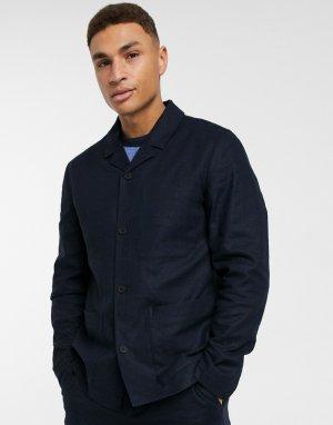 Темно-синий пиджак из ткани на основе льна Selected Homme