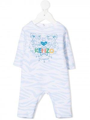 Комбинезон для новорожденного с принтом Tiger Kenzo Kids. Цвет: синий