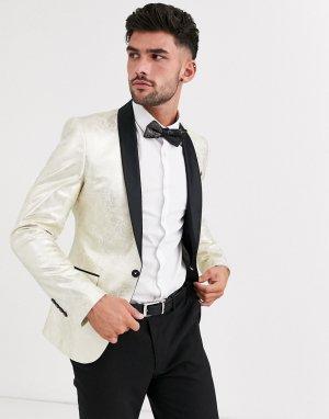 Золотистый пиджак-смокинг приталенного кроя Avail London-Золотой London