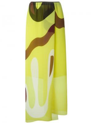 Плиссированная юбка с абстрактным принтом Issa. Цвет: жёлтый и оранжевый