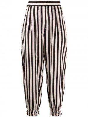 Зауженные брюки в полоску 8pm. Цвет: черный