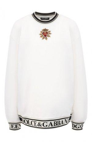 Хлопковый пуловер Dolce & Gabbana. Цвет: белый