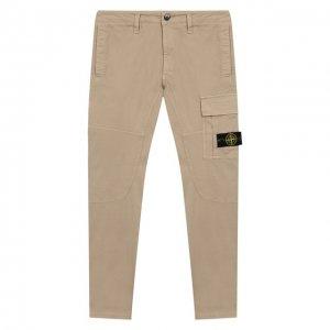 Хлопковые брюки Stone Island. Цвет: бежевый
