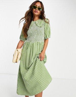 Платье миди из жатой ткани в клетку с присборенным лифом и большим воротником -Зеленый цвет Neon Rose