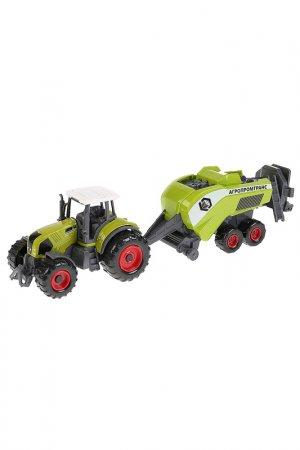 Машина Трактор с прицепом Технопарк. Цвет: зеленый