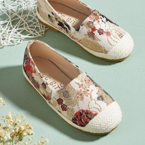Эспадрильи на плоской подошве с цветочным узором для девочек SHEIN. Цвет: aбрикосовый