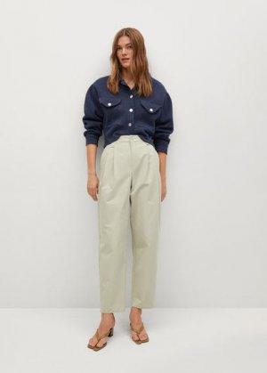 Прямые брюки с защипами - Mint Mango. Цвет: морская волна