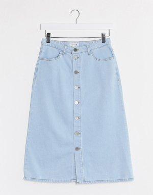 Голубая джинсовая юбка на пуговицах -Синий Gestuz