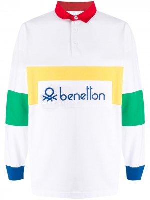 Рубашка-поло в стиле колор-блок с логотипом Benetton. Цвет: белый