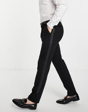 Черные зауженные брюки под смокинг -Черный цвет Topman