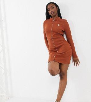 Коричневое облегающее платье мини на молнии -Коричневый цвет Fila