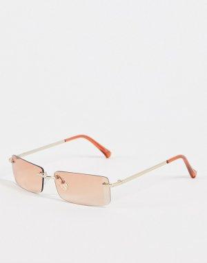 Солнцезащитные очки в прямоугольной золотистой оправе стиле унисекс -Золотистый Jeepers Peepers