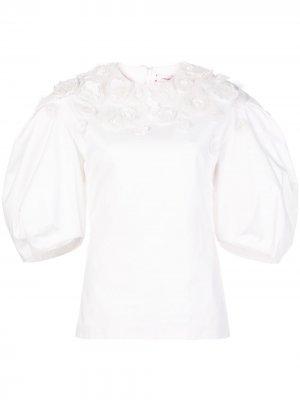 Блузка с пышными рукавами и цветочной аппликацией Carolina Herrera. Цвет: белый