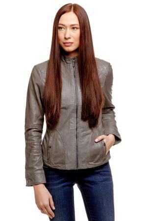Кожаная куртка TOM TAILOR. Цвет: темно-серый асфальт