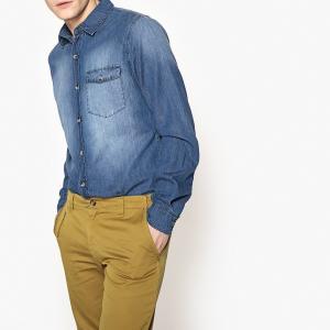 Рубашка узкого покроя из джинсовой ткани LA REDOUTE COLLECTIONS. Цвет: синий потертый