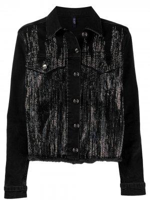 Джинсовая куртка с кристаллами LIU JO. Цвет: черный