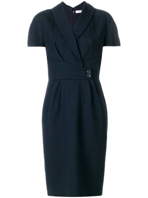 Платье с короткими рукавами поясом на талии Christian Dior. Цвет: синий