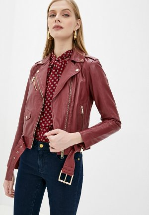 Куртка кожаная Michael Kors. Цвет: бордовый