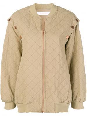 Куртка-бомбер свободного кроя See By Chloé. Цвет: зеленый