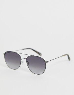 Серые круглые солнцезащитные очки Ted Baker. Цвет: серый