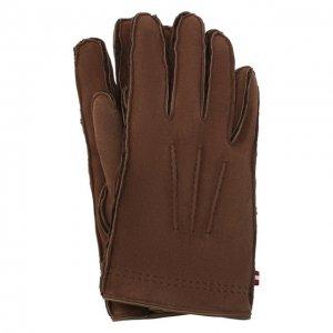 Замшевые перчатки Bally. Цвет: коричневый