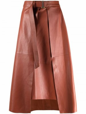 Кожаная юбка Shivala Aeron. Цвет: коричневый