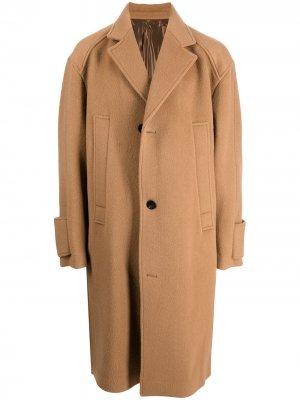 Однобортное пальто оверсайз Wooyoungmi. Цвет: коричневый