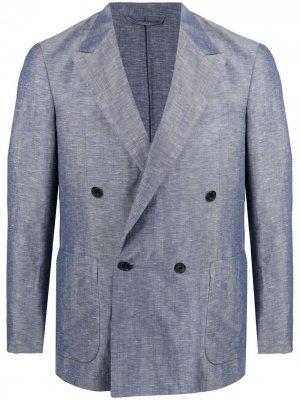 Двубортный пиджак строгого кроя Caruso. Цвет: синий