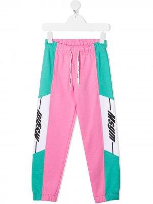 Спортивные брюки в стиле колор-блок Msgm Kids. Цвет: розовый