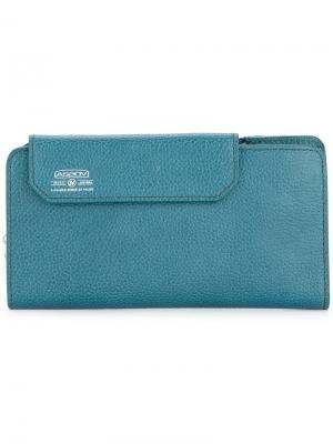 Удлиненный бумажник Shrink As2ov. Цвет: синий