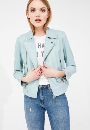 Куртка кожаная Max&Co. Цвет: голубой