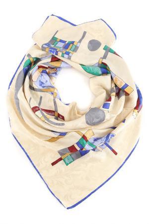 Платок F.FRANTELLI. Цвет: молочный, синий кант, бордовый