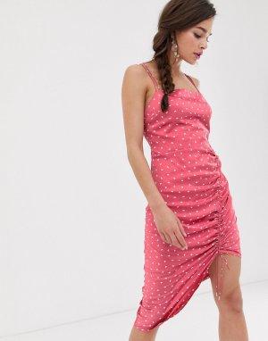 Платье-комбинация миди Emilia-Розовый Finders Keepers