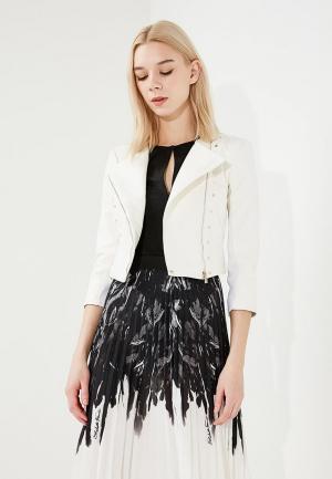 Куртка кожаная Elisabetta Franchi. Цвет: белый