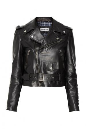 Черная кожаная куртка Balenciaga. Цвет: черный