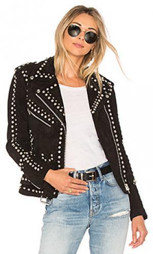 Кожаная косуха со стразами easy rider Understated Leather. Цвет: черный