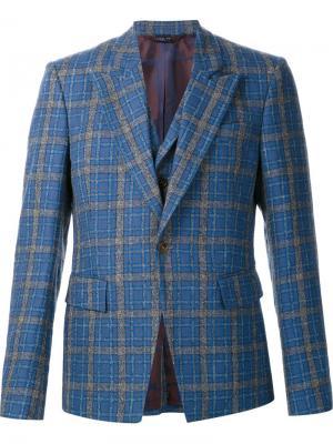 Пиджак в клетку с деталью виде жилетки Vivienne Westwood. Цвет: синий