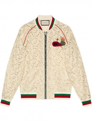 Кружевная куртка-бомбер Gucci. Цвет: белый