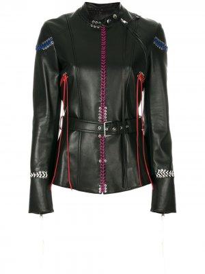 Кожаная куртка с декоративной прошивкой Alexander McQueen. Цвет: черный