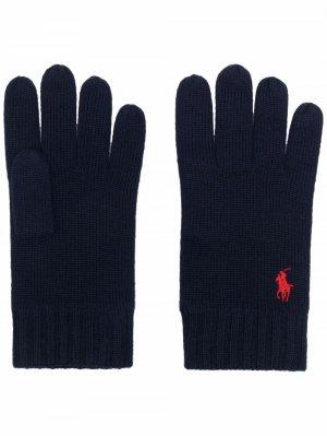 Шерстяные перчатки с вышивкой Polo Pony Ralph Lauren. Цвет: синий