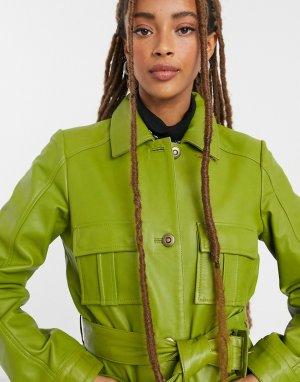 Шалфейно-зеленая кожаная куртка в стиле милитари с поясом -Зеленый Muubaa